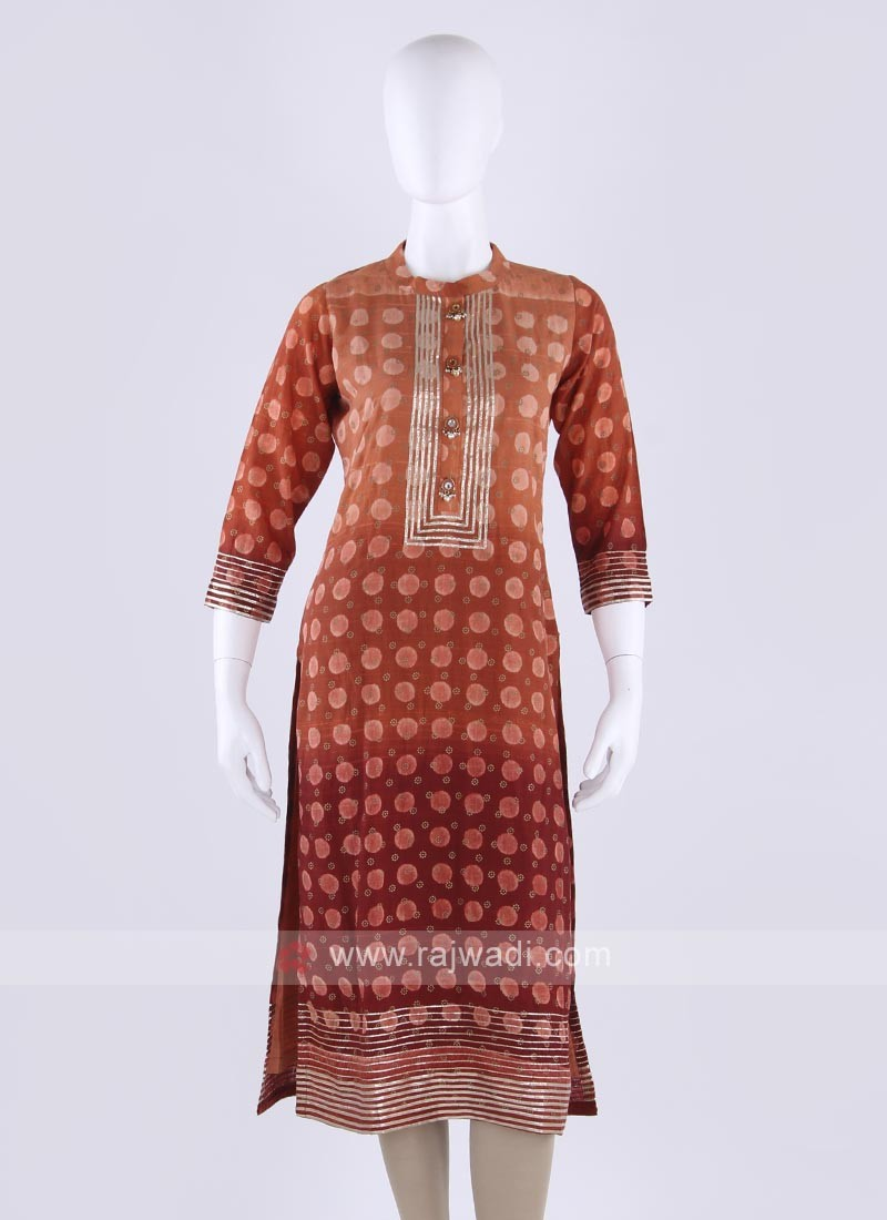 Silk kurti in orange color
