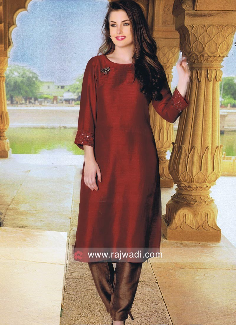 Silk Kurti in Red
