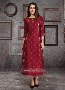 Silk Kurti In Wine