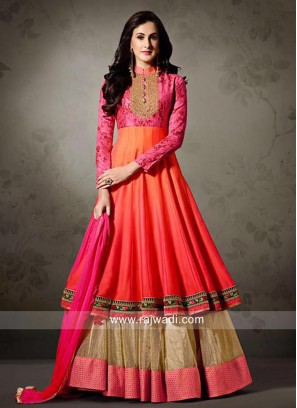Silk Layered Anarkali Salwar Suit with Dupatta