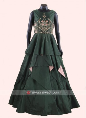 Silk Layered Gown in Bottle Green