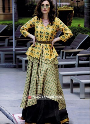 Silk Layered Kurti with Embroidery Work