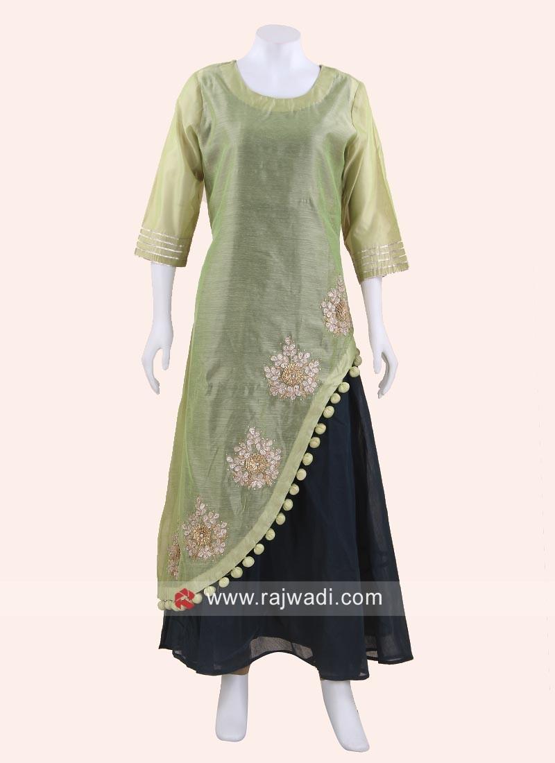 Silk Layered Kurti with Sleeves