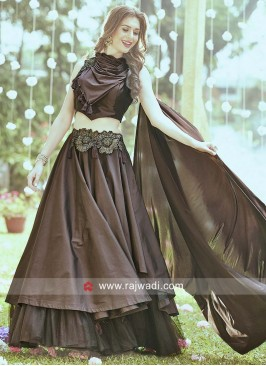 Silk Layered Lehenga Set in Brown