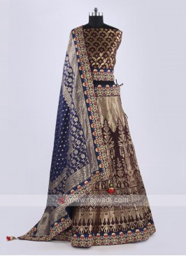 Silk Lehenga Choli In Brown Color