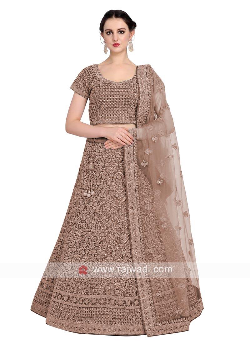 Silk Lehenga Choli In Brown Color