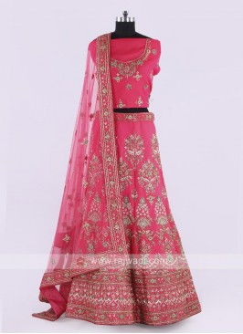 Silk Lehenga Choli In Coral Pink