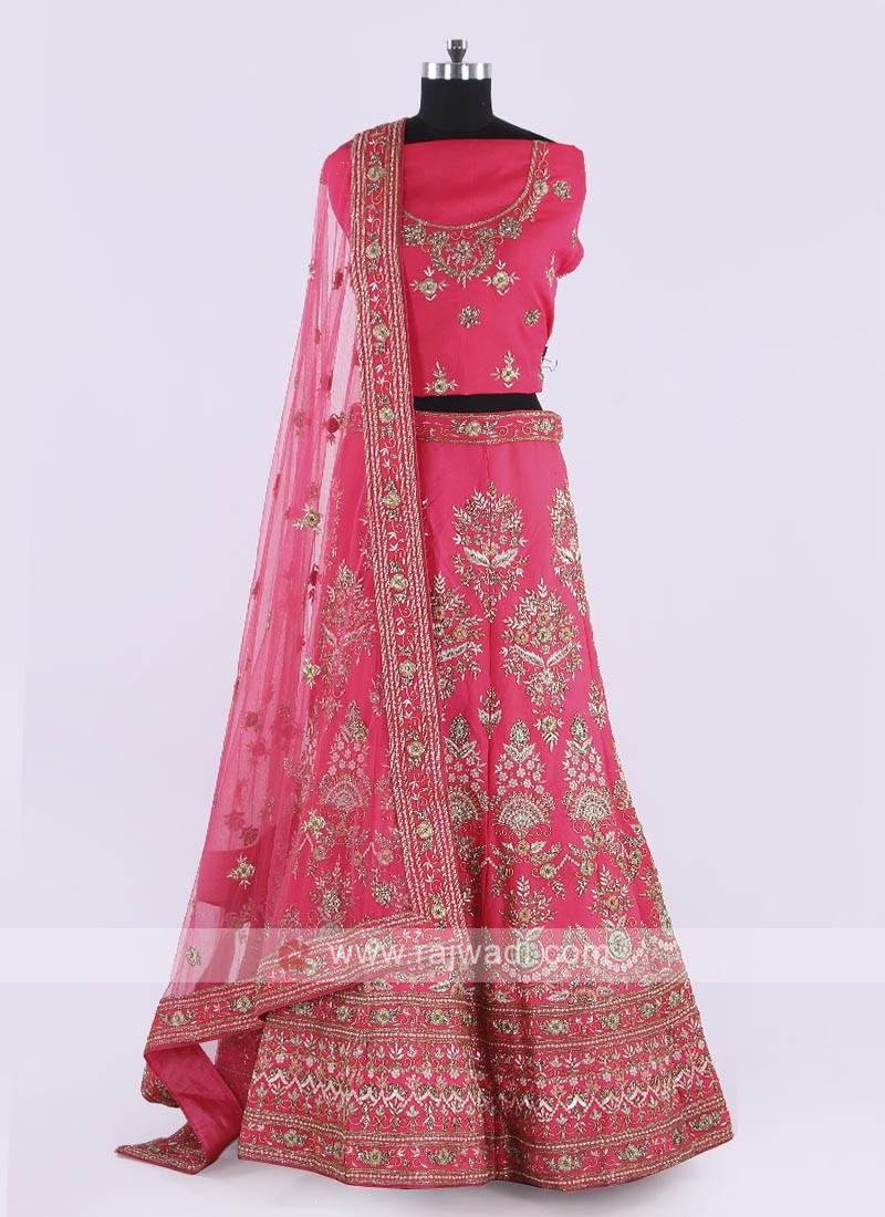 Silk Lehenga Choli In Coral Pink