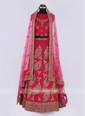 Silk Lehenga Choli In Coral Pink Color