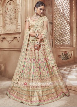 Silk Lehenga Choli in Cream
