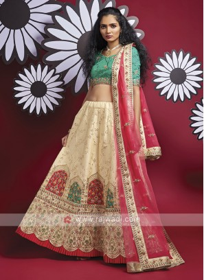 Silk Lehenga Choli In Cream And Green