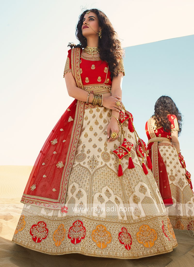 Silk Lehenga Choli In Cream And Red