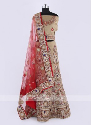 Silk Lehenga Choli In Cream Color