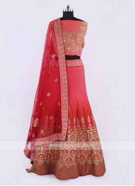 Silk Lehenga Choli In Gajari Pink