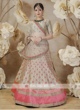 silk lehenga choli in green color