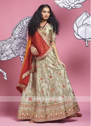 Silk Lehenga Choli In Grey