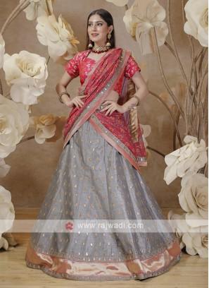 silk lehenga choli in grey and pink