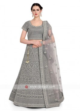 Silk Lehenga Choli In Grey Color