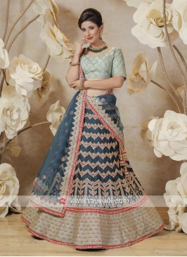 silk lehenga choli in indigo blue and pista green