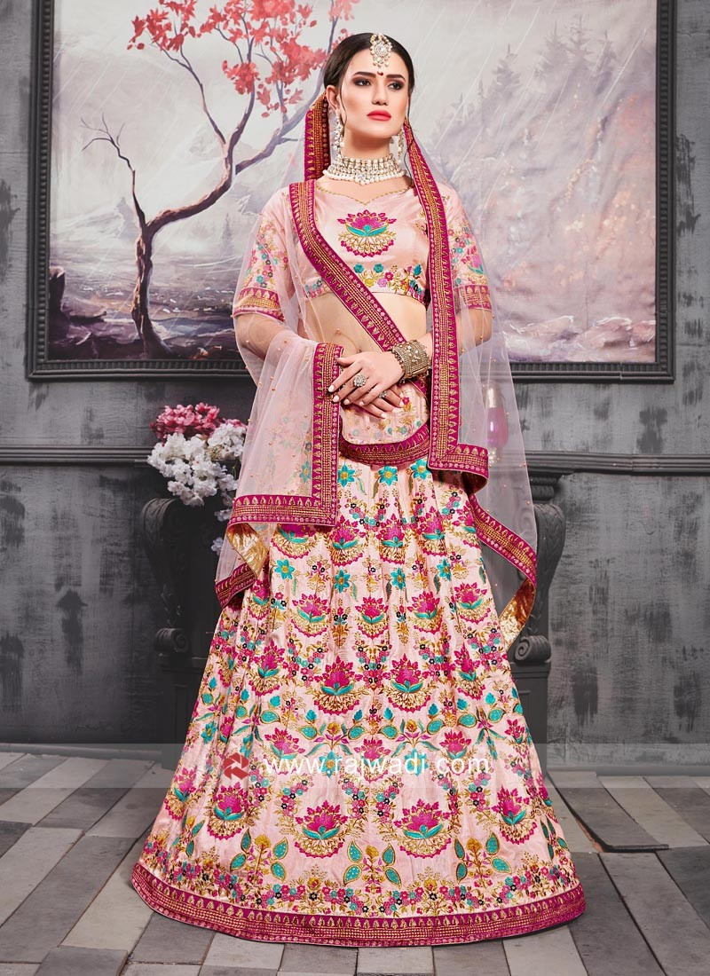 Silk Lehenga Choli in Light Pink