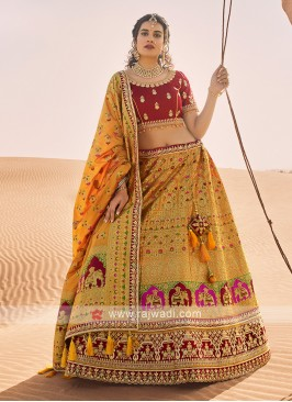 Silk Lehenga Choli In Mustard Yellow And Maroon