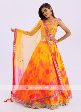 Silk Lehenga Choli In Mustard Yellow And Pink