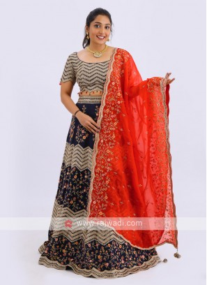 Silk Lehenga Choli In Navy
