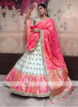 silk lehenga choli in off white and pink