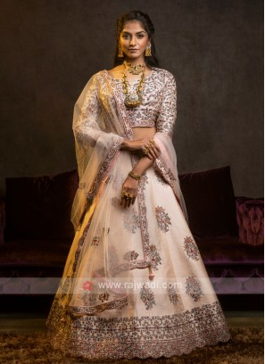 Silk Lehenga Choli In Peach
