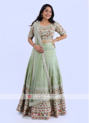 Silk Lehenga Choli In Pista Green