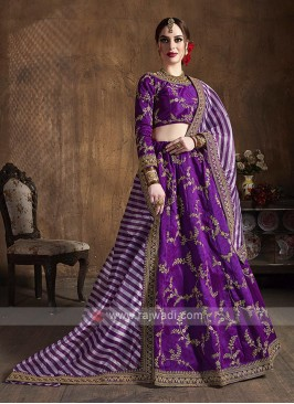Silk Lehenga Choli In Purple