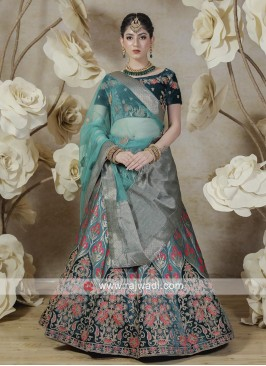 silk lehenga choli in rama blue