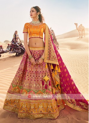 Silk Lehenga Choli In Rani And Mustard Yellow