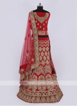 Silk Lehenga Choli In Red Color
