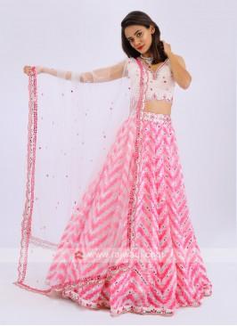 Silk Lehenga Choli In White And Pink