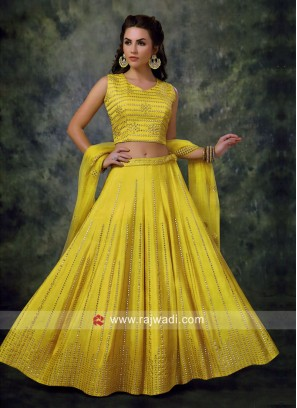 Silk Lehenga Choli in Yellow