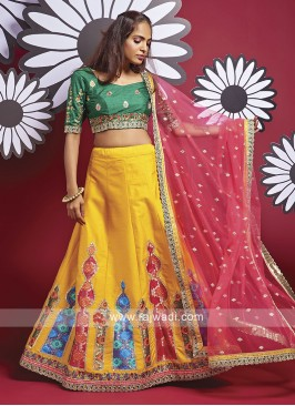 Silk Lehenga Choli In Yellow And Green