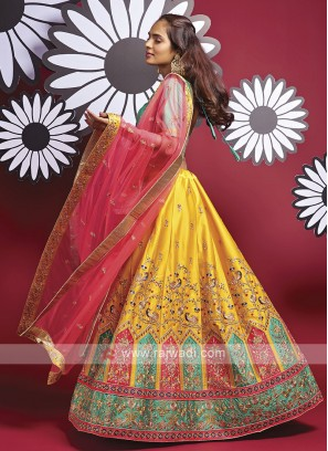 Silk Lehenga Choli In Yellow And Rama Green