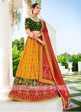 Silk lehenga Choli In Yellow & Green Color