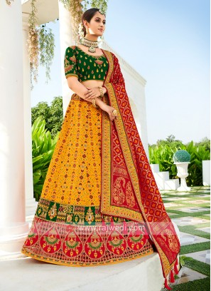 Silk lehenga Choli In Yellow & Green Color