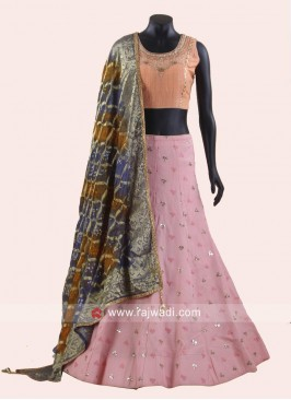 Silk Lehenga Choli with Bandhani Dupatta