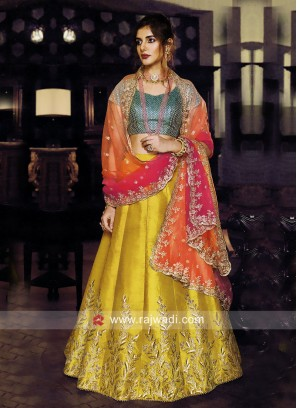 Silk Lehenga Set with Shaded Dupatta