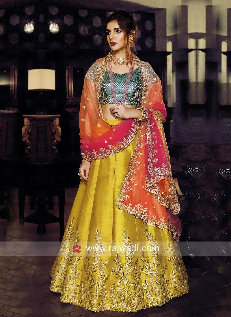 Silk Lehenga Set with Shaded Dupatta