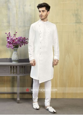 Cotton Silk White Indo Western