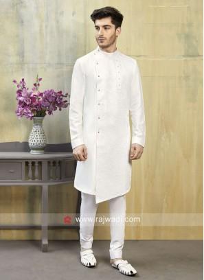 Cotton Silk White Indo Western