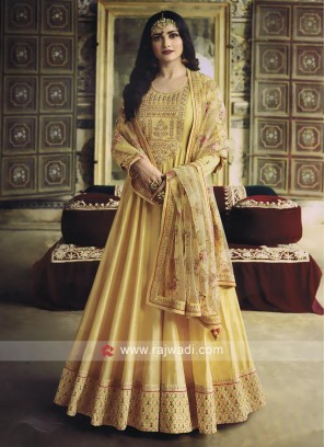 Silk Light Yellow Salwar Kameez