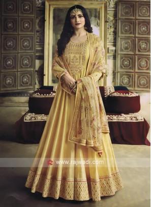 Silk Light Yellow Salwar Kameez