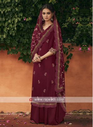 Silk dress material in maroon color