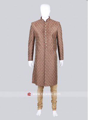 Silk Maroon Color Sherwani