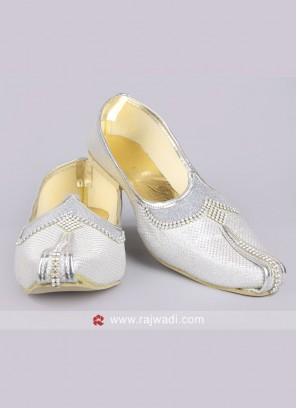 Silver Art Silk Mojari